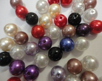Kawaii faux pearl acrylic beads random mix  12 mm      more than 50 pcs  USA seller