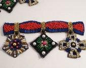 Colorful MIlitary Medals Design Beaded APplique--One Piece
