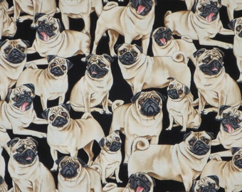 Packed Pug Pups on Black Pure Cotton Print Fabric--One Yard