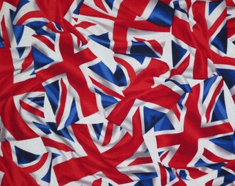 Red White and Blue Waving British Flag Print Pure Cotton Fabric--One Yard