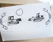 Buster and Job Play Chicken - Original Art - Hand Pressed Linoleum Cut