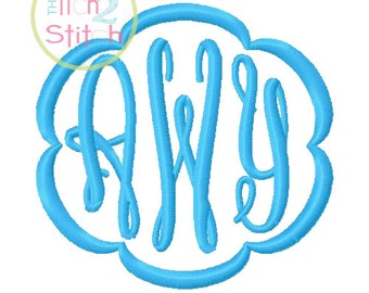 "Fancy Oval Monogram Font and Frames for machine embroidery in size 2"", 2.5"" and 3""  INSTANT DOWNLOAD now available"