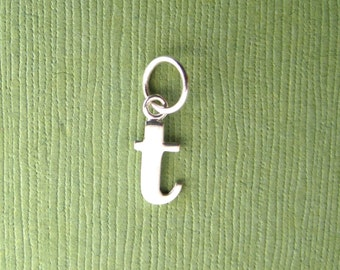 Sterling Silver Alphabet Letter t  Initial Charm in Typewriter Style