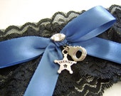 Police Officer or Sheriff's Deputy Black Stretch Lace Wedding Garter with Your Choice of Law Enforcement Badge