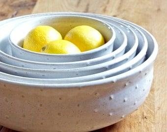 Serving Bowls - White Polka Dot Wide Mouth Bowls - Nesting Bowls - Set of 5