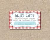 DIY / Baby-Que Gingham Diaper Raffle Tickets {Red & Aqua} / Printable / Instant Download