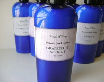 Grapefruit Apricot Private Stock Lotion, 4 or 8 oz. Bottle for Dry Skin, Feet, Elbows, Winter Skin