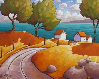 "Fine Art Print by Cathy Horvath, 8 1/2""x11"" Giclee Summer Seaside Road Cottage Ocean Landscape Modern Folk Art Seascape Reproduction Artwork"