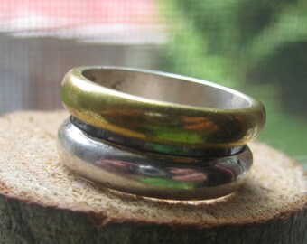 Vintage Sterling Silver Mens or Ladies Ring Band with Black and Brass Colors Size 7