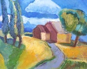 Summer house-  original oil painting on canvas- 20 X 24- not framed