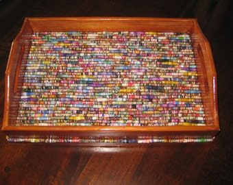 Paper Bead Embellished Wooden Tray