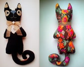 Barnaby black cat, soft art creature, toy by Wassupbrothers.MADE TO ORDER