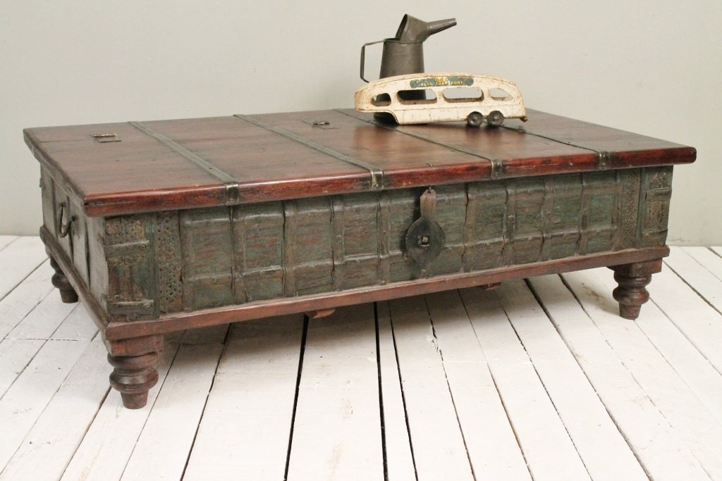 Reclaimed trunk coffee table antique indian olive green wood Indian trunk coffee table