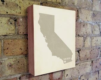 San Diego Art Print - San Diego Art - California Art - San Diego California - I Love San Diego- Wood Block Art Print