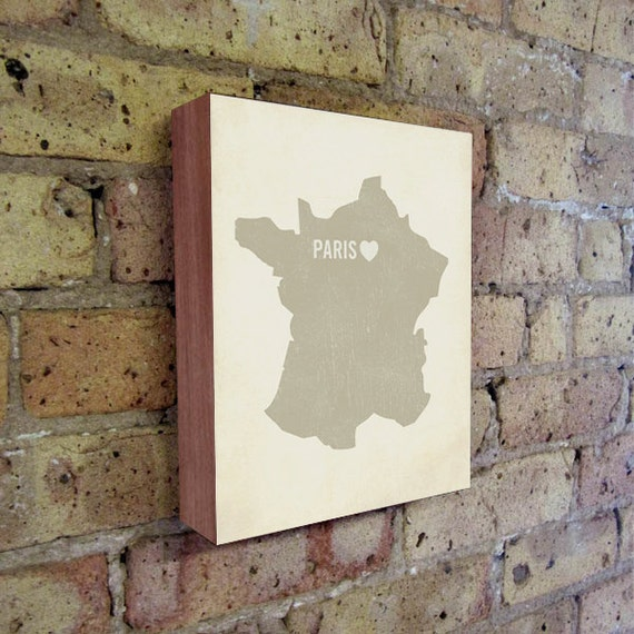 Paris Art Print - Paris - Paris Art - Paris France - I Love Paris - Wood Block Art Print