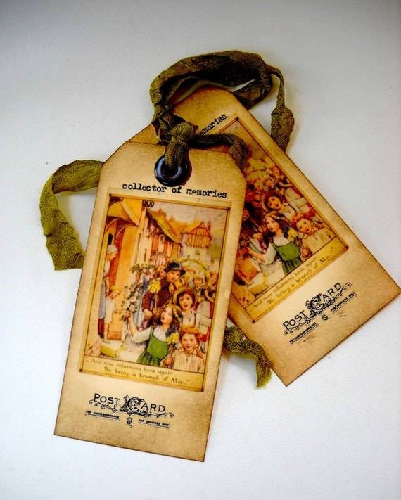 May Day/Easter Victorian Children Handmade Tags