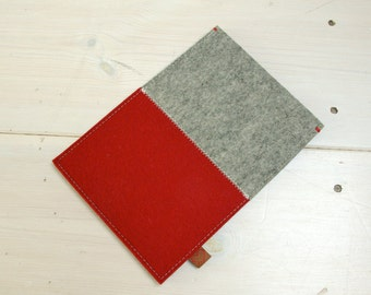 KINDLE KOBO CASE felt - grey red - Paperwhite Voyage Aura Glo - ereader sleeve, case