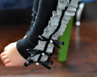 Black Baby Leg Warmers with Gray Ruffles/ Baby Girl Leg Warmers