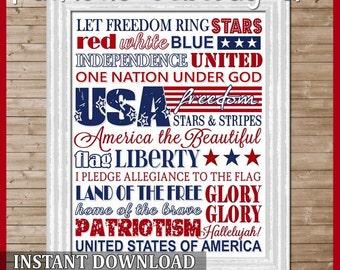 July or Patriotic Subway Art - Printable INSTANT Download