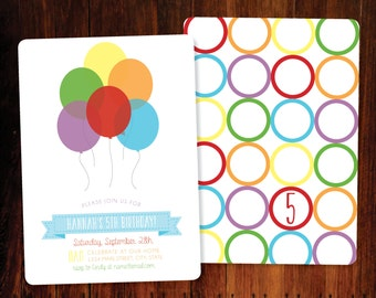 Rainbow Balloons Birthday invitation, double sided - set of 10