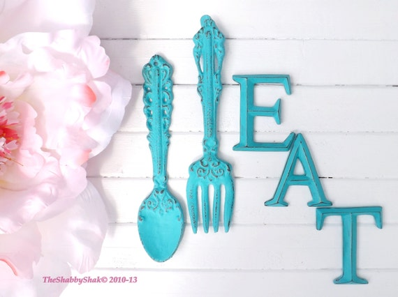 Kitchen Wall Decor / Aqua / Fork and Spoon Decor / EAT Sign/ Wall Word / Shabby Chic / Shabby Chic Decor / Kitchen Wall Art / Kitchen Decor