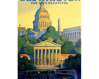 WASHINGTON DC 1- Handmade Leather Postcard / Note Card / Fridge Magnet - Travel Art