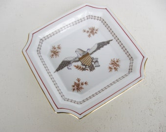 Early Americana Style Tray, Eagle Patrotic Letter Dish