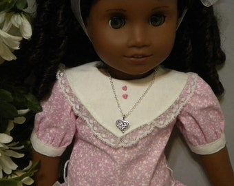 American Girl or Other 18 Inch Doll Filigree Heart Silver Tone Charm Necklace