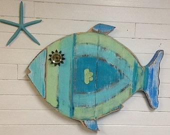 Fish Wall Art Sign Beach House Sea Glass Colours Decor by CastawaysHall