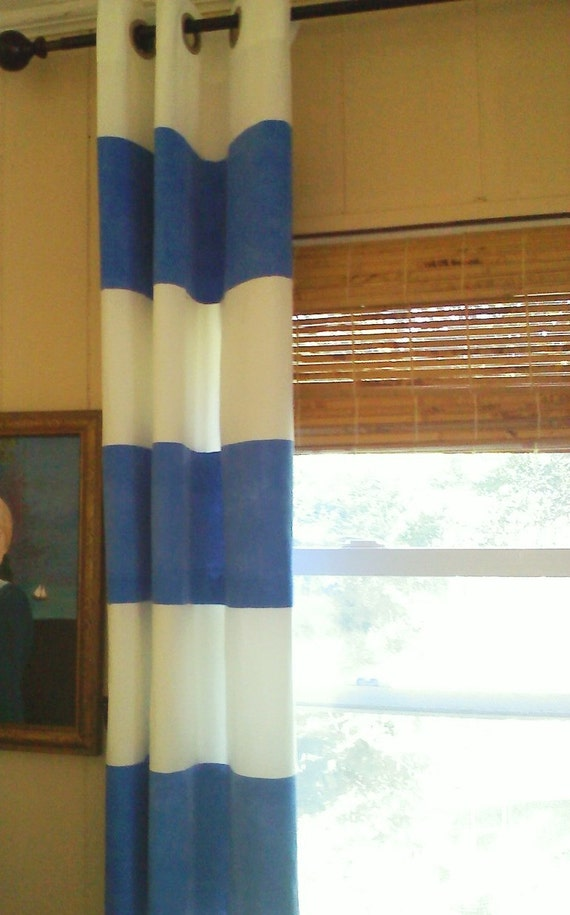Blue And White Wide Horizontal Stripe Curtain Panel W