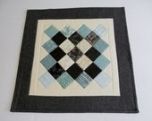 Quilted Table Topper, Quilted Table Runner, Patchwork Runner, Musical Theme, Modern, Grey Aqua Ivory