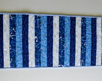 Nautical Quilted Table Runner, Quilted Table Topper, Ocean Blues, Seasdie, Beach House,  Anchors Fish Waves