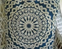 "Two pillow covers 23"" square..  indigo and tan sunburst graphic print"