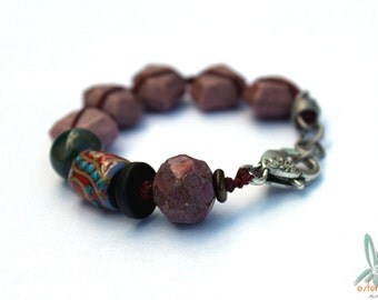 Desert flower - beautiful bracelet with rhodonite and artisan beads