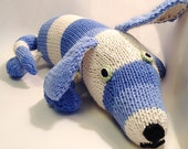 Special Order: Dog Stuffed Animal Short Striped Blue Natural Knit Cotton Yarn