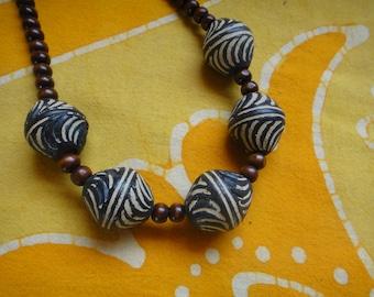 African Clay Beaded Necklace Prayer Bead Mala Rasta Mens Long Statement Hemp Tribal Layering