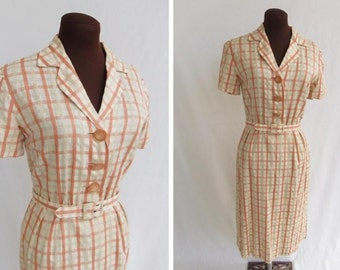 Vintage 50s 60s Shirtwaist Dress in Textured Cotton Cream Orange and Tan Plaid Size S / M
