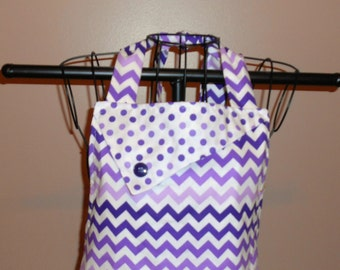 Purple Chevron and Polka Dots Apron