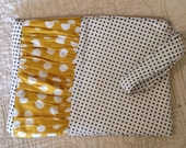 Zip Pouch Clutch Black Mini Dot Yellow Polka Dot Ruffle Inset