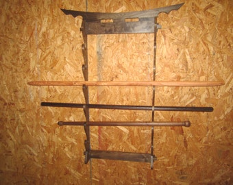 Traditional Style Walnut Sword Rack for Six