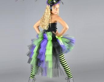 Halloween Witch Bustle Tutu...Lime Green Black Purple Bustle Tutu for girls...Halloween Costume, Portrait Tutu....WICKEDLY GLAM