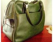 vintage vinyl green escort luggage carry on
