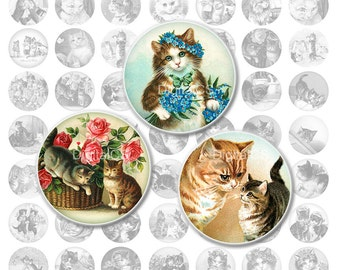 Cat Digital collage sheet Cat 1 inch Digital collage sheet round 1x1 digital collage sheet Bottle cap images cat vintage cats