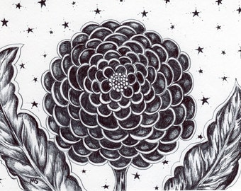 "Divine Flower Drawing, Pen and Ink,  HAND DRAWN 5x7"" Flower Wall Art, Cosmic, Stars, Starry Night  ""Awaken"""