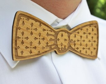 Wooden, Laser Cut Bow Tie - Handsome, Custom Mens Gift from Adler Wood