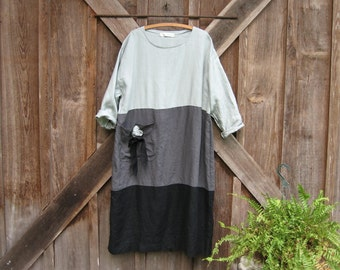 linen dress in silver charcoal smoke grey and black rose pocket ready to ship
