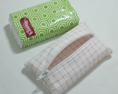 Tissue Holder Pouch - Zippered Kleenex Pocket Pack Holder Cute Pink Checked Design