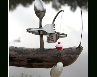Fisherman And Spoon Fish Wind Chime - Rustic Garden Art, Fishing Guide, Hook Line Sinker, Custom Lure, Recycled Silverware Art, Sculpture