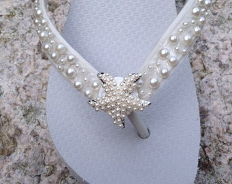Wedding Flip Flops/Wedges/Sandals for Bride/Bridesmaids.White Bridal Flip Flops.Flip Flops with PEARLS.Starfish. Beach Weddings.