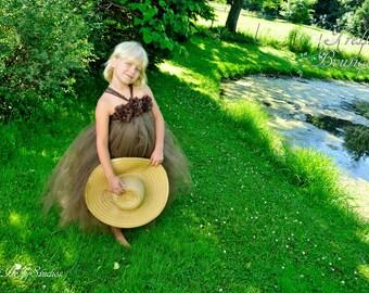 Chocolate Brown Flower Girl Dress, Chiffon Lace Flowers, Wedding, 2T, 3T, 4T, 5, 6, 7, 8, 9, 10, 12